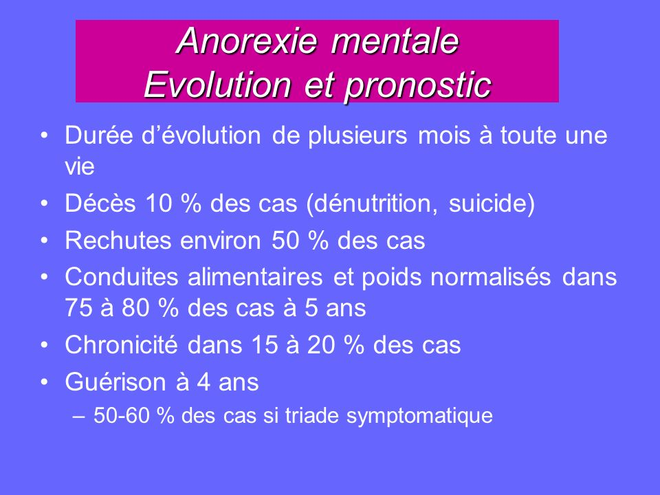 Anorexie mentale Evolution et pronostic