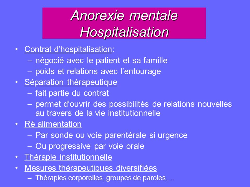 Anorexie mentale Hospitalisation