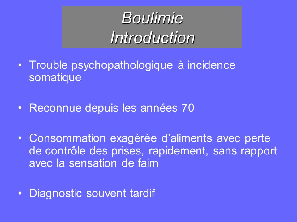 Boulimie Introduction