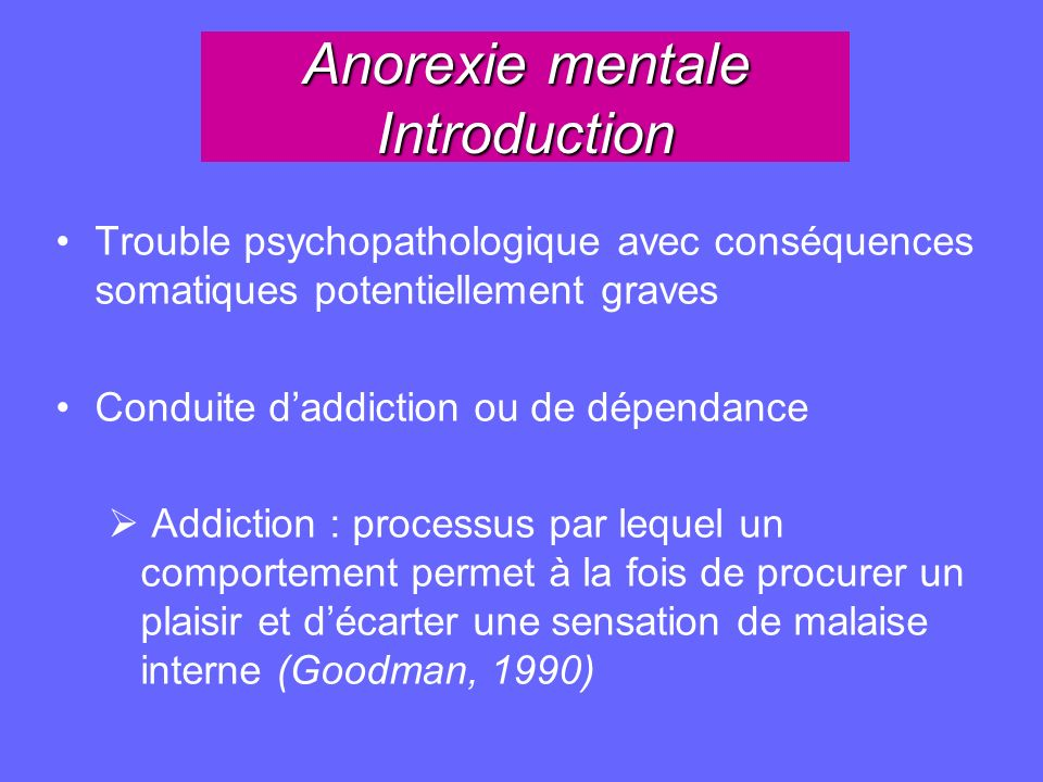 Anorexie mentale Introduction
