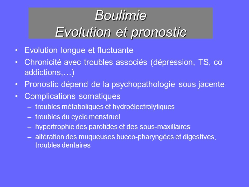 Boulimie Evolution et pronostic