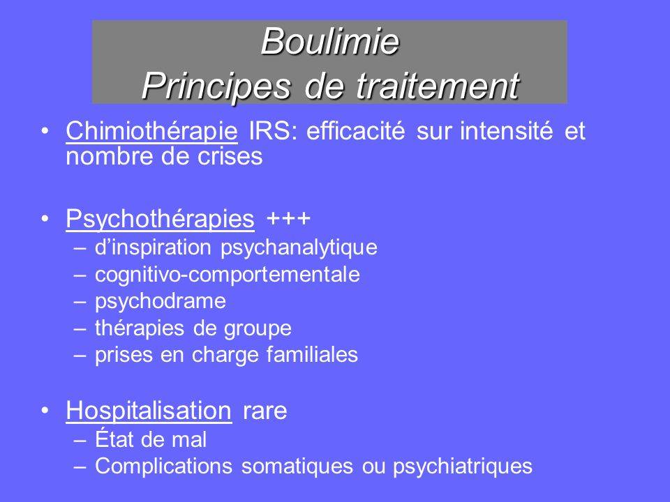 Boulimie Principes de traitement