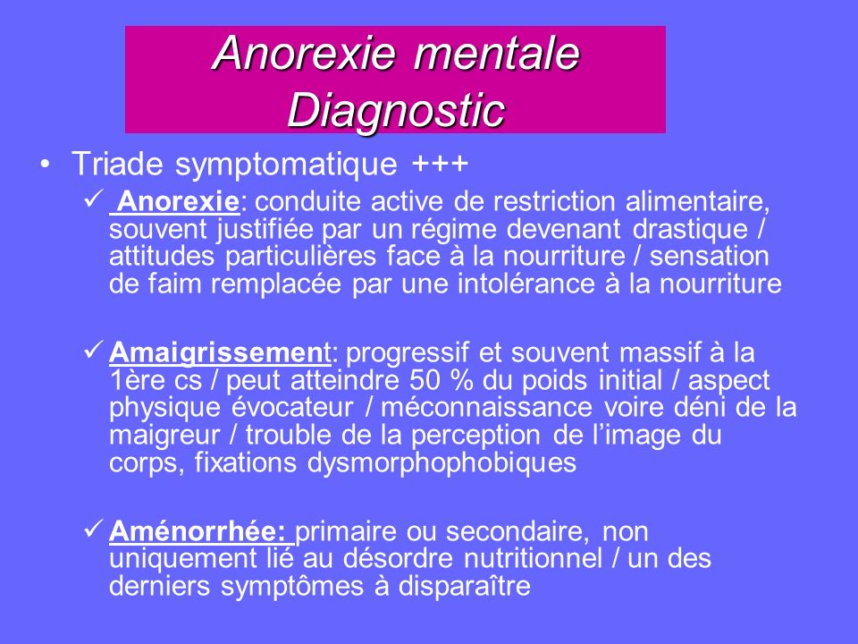 Anorexie mentale Diagnostic