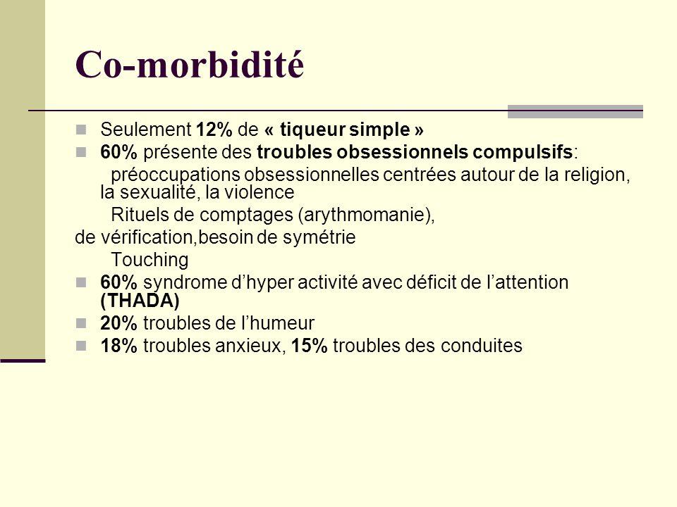 Co-morbidité Seulement 12% de « tiqueur simple »