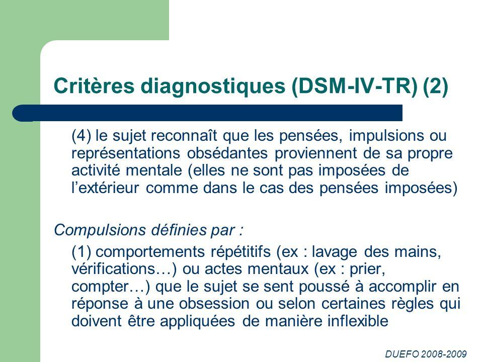 Critères diagnostiques (DSM-IV-TR) (2)