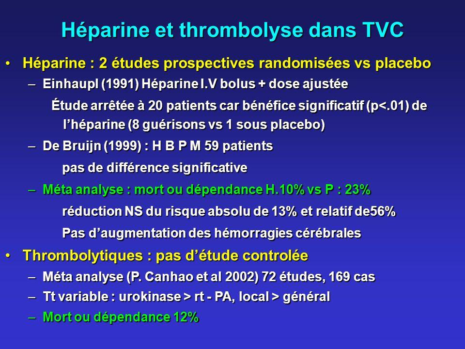 Héparine et thrombolyse dans TVC