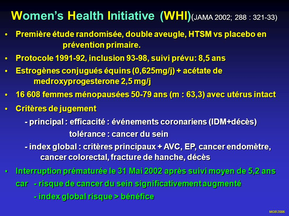 Women's Health Initiative (WHI)(JAMA 2002; 288 : 321-33)