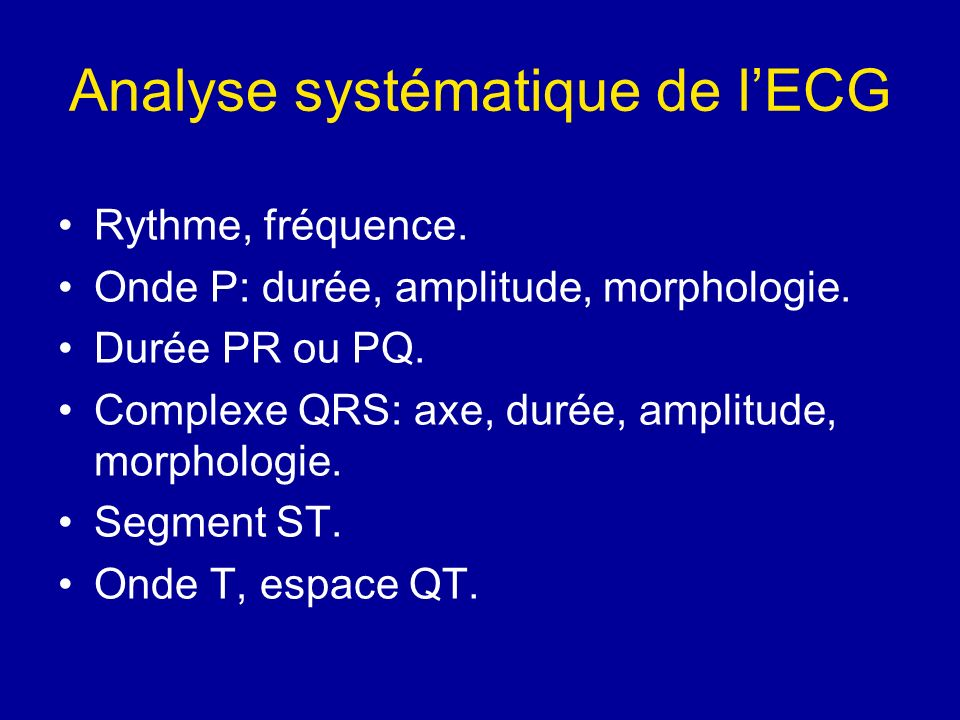Analyse systématique de l'ECG