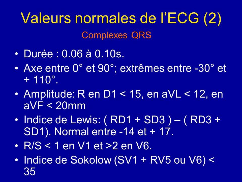 Valeurs normales de l'ECG (2)