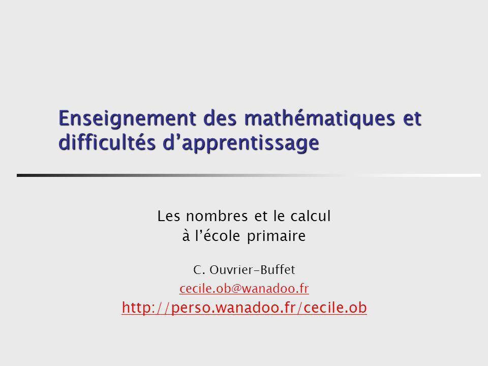 Enseignement des mathématiques et difficultés d'apprentissage