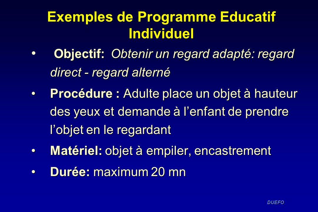 Exemples de Programme Educatif Individuel