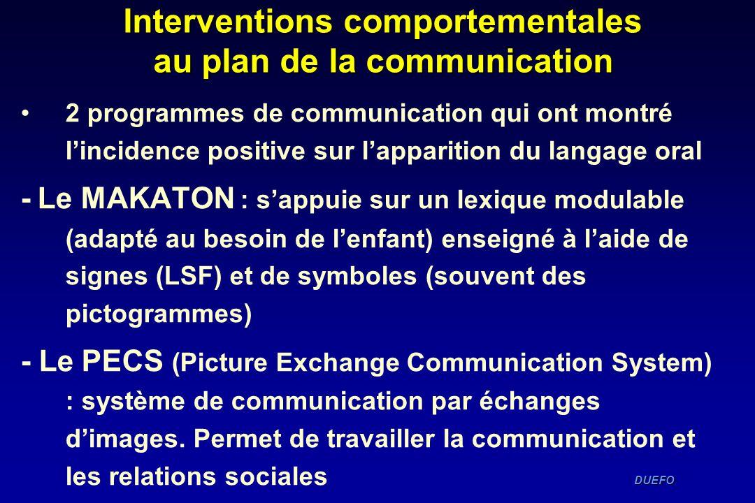 Interventions comportementales au plan de la communication