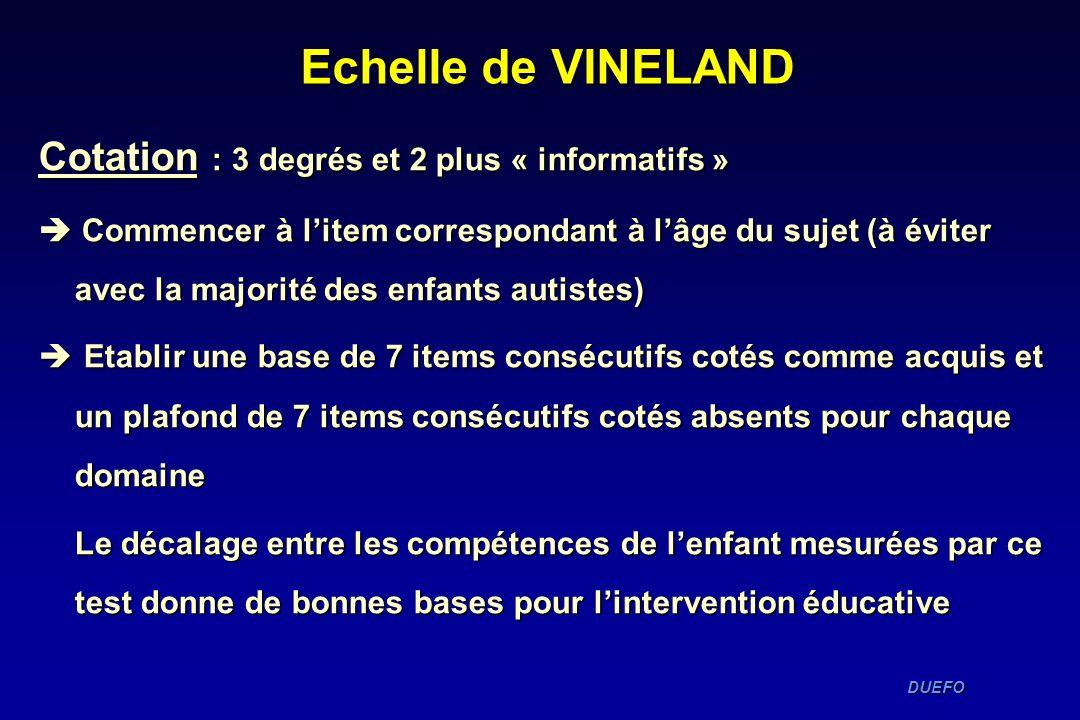 Echelle de VINELAND Cotation : 3 degrés et 2 plus « informatifs »