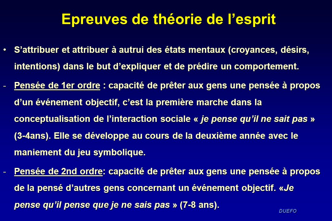 Epreuves de théorie de l'esprit