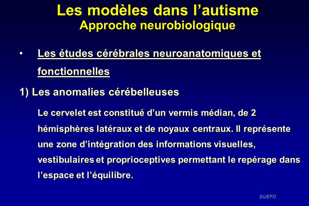 Les modèles dans l'autisme Approche neurobiologique