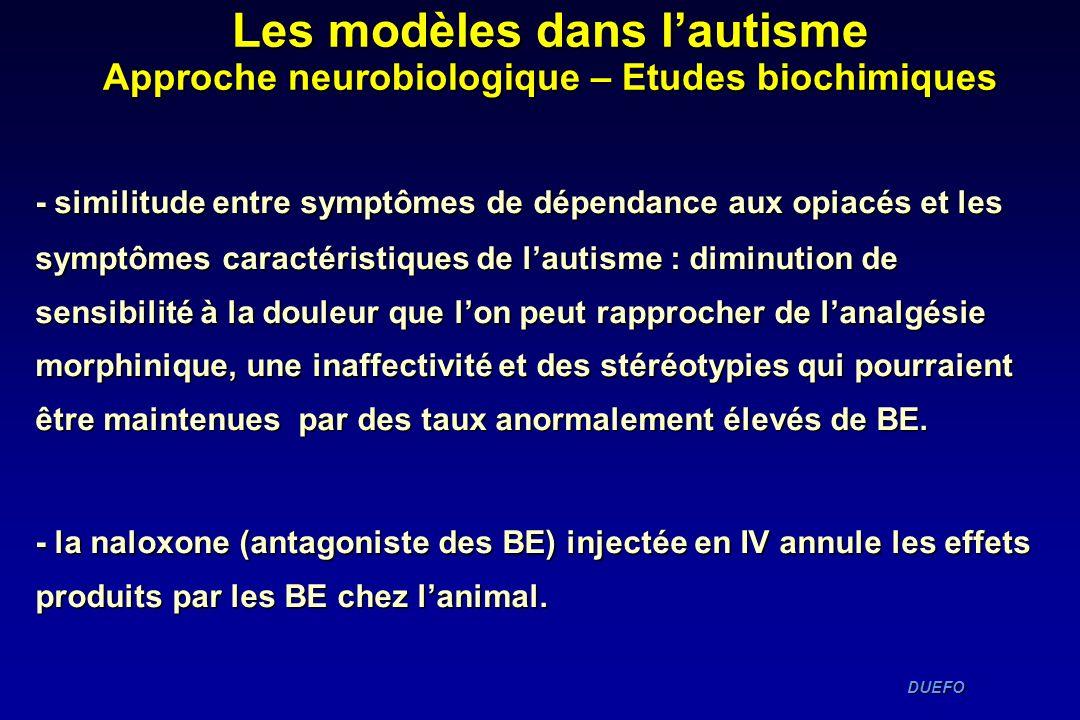 Les modèles dans l'autisme Approche neurobiologique – Etudes biochimiques