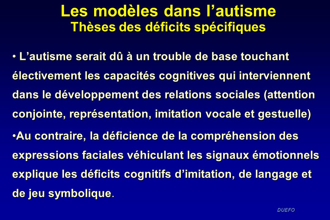 Les modèles dans l'autisme Thèses des déficits spécifiques