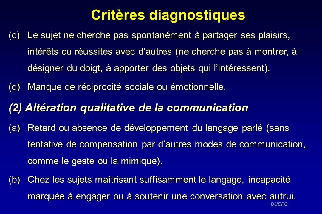 Critères diagnostiques