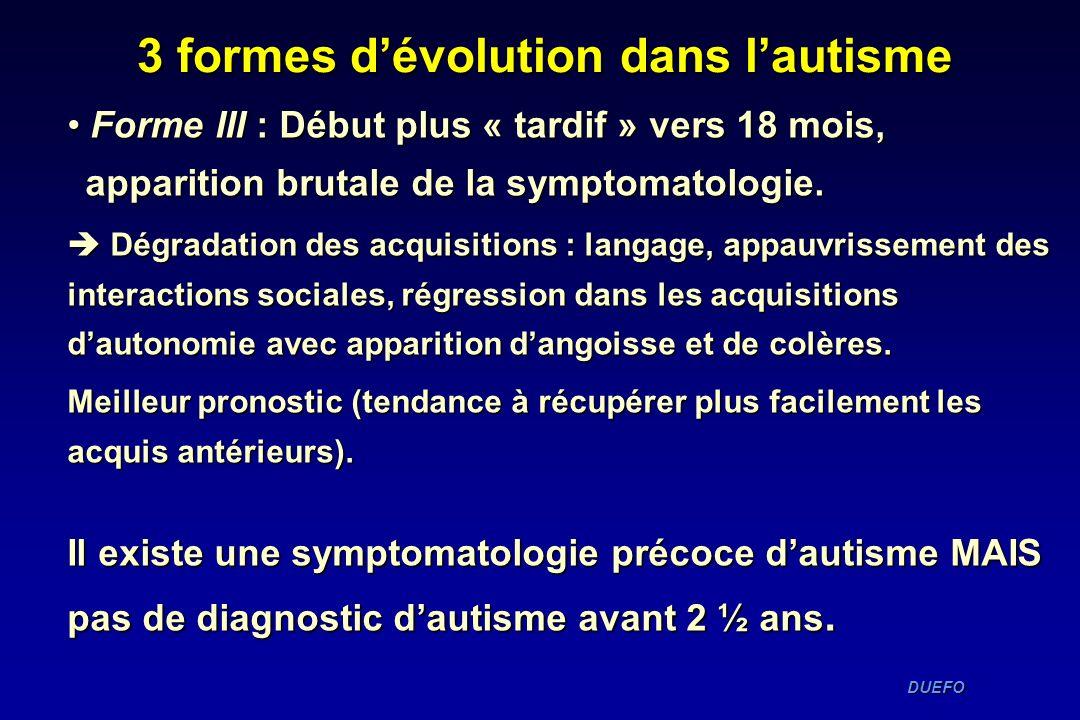 3 formes d'évolution dans l'autisme