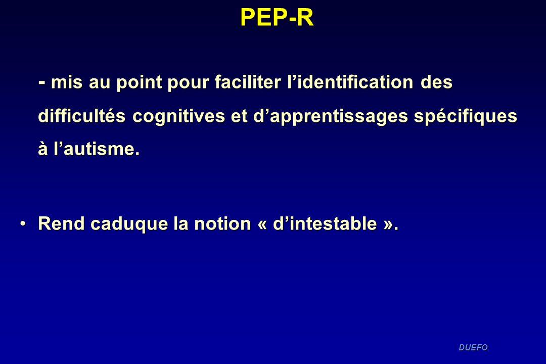 PEP-R- mis au point pour faciliter l'identification des difficultés cognitives et d'apprentissages spécifiques à l'autisme.
