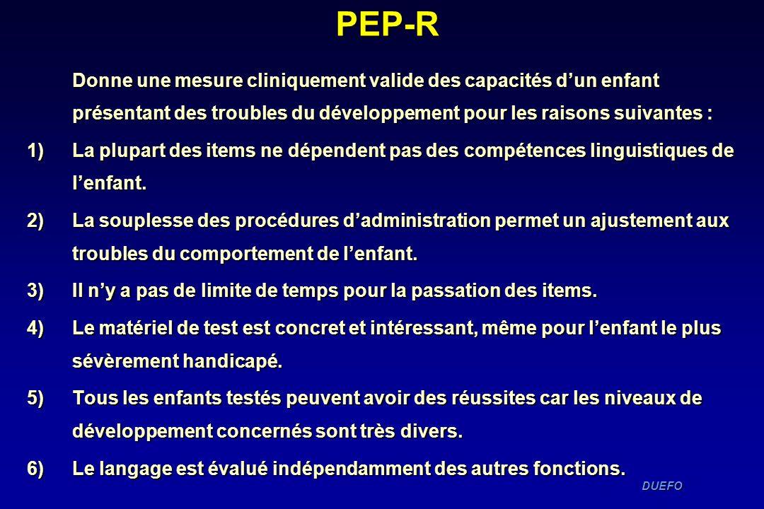 PEP-R Donne une mesure cliniquement valide des capacités d'un enfant présentant des troubles du développement pour les raisons suivantes :