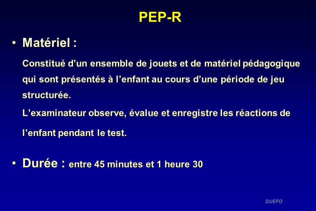 PEP-R Matériel : Durée : entre 45 minutes et 1 heure 30
