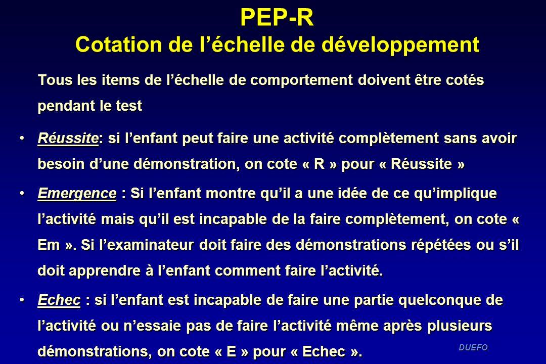 PEP-R Cotation de l'échelle de développement