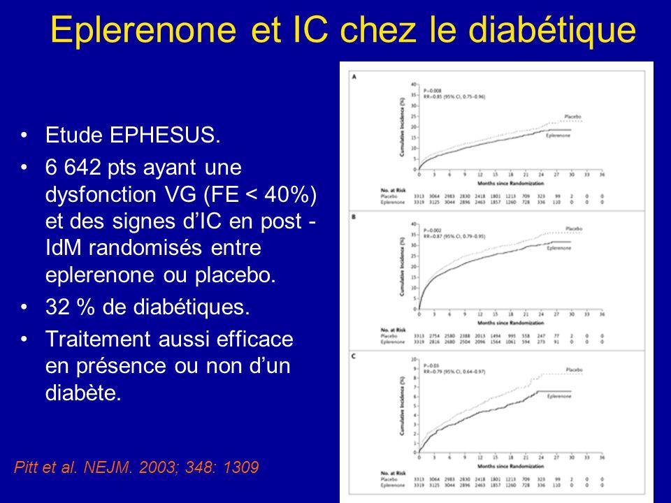 Eplerenone et IC chez le diabétique
