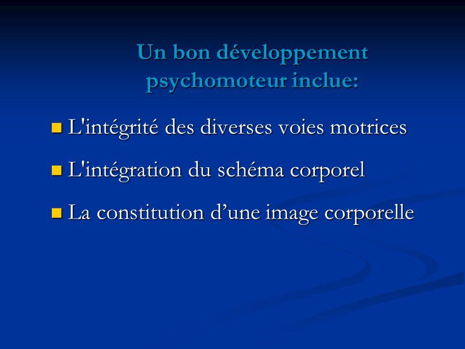 Un bon développement psychomoteur inclue:
