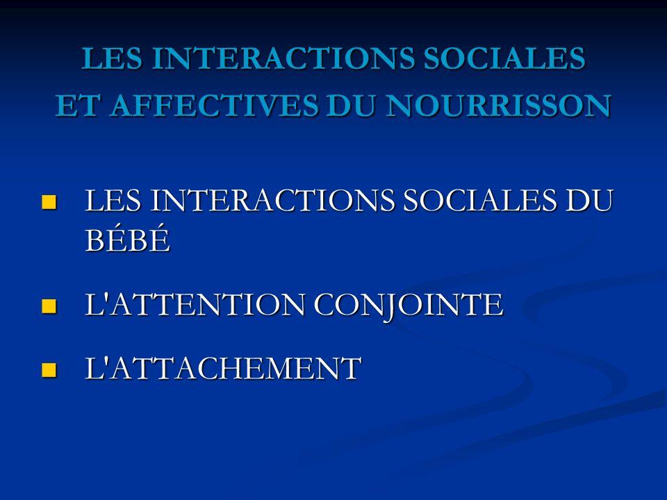 LES INTERACTIONS SOCIALES ET AFFECTIVES DU NOURRISSON