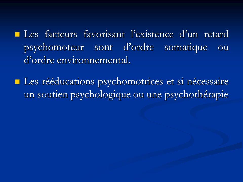 Les facteurs favorisant l'existence d'un retard psychomoteur sont d'ordre somatique ou d'ordre environnemental.