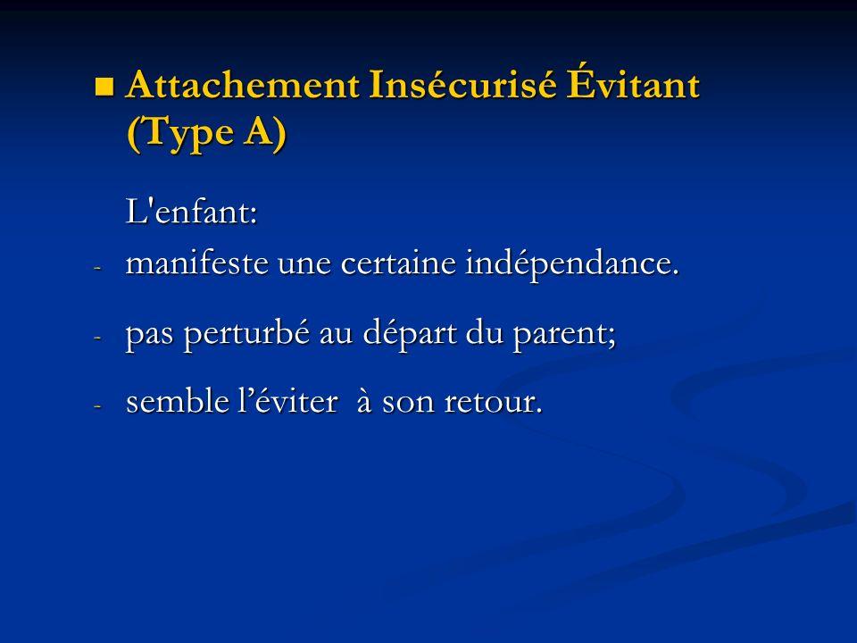 Attachement Insécurisé Évitant (Type A) L enfant: