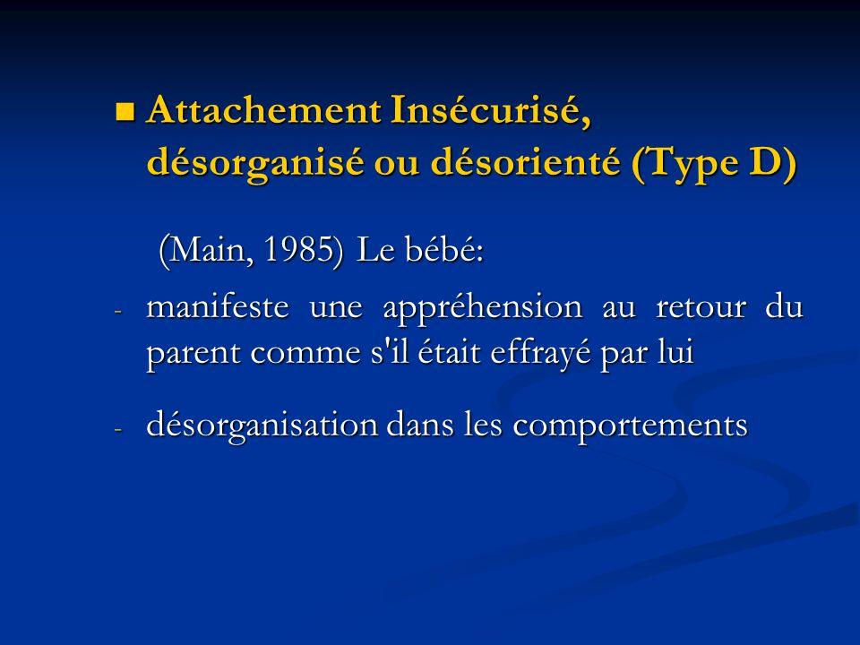 Attachement Insécurisé, désorganisé ou désorienté (Type D)