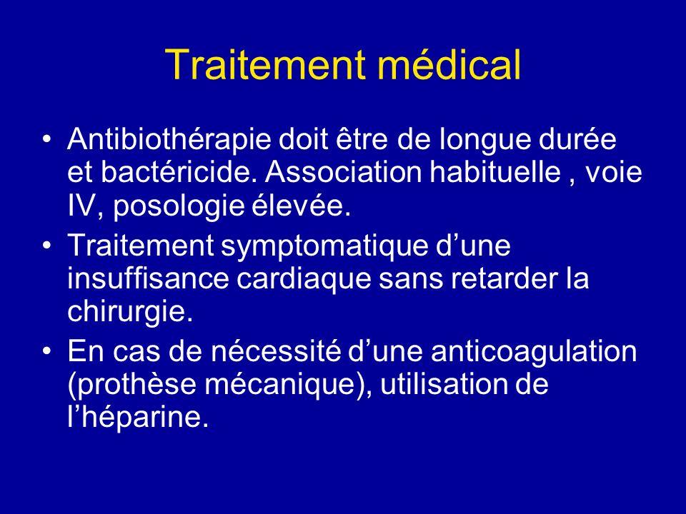 Traitement médical Antibiothérapie doit être de longue durée et bactéricide. Association habituelle , voie IV, posologie élevée.