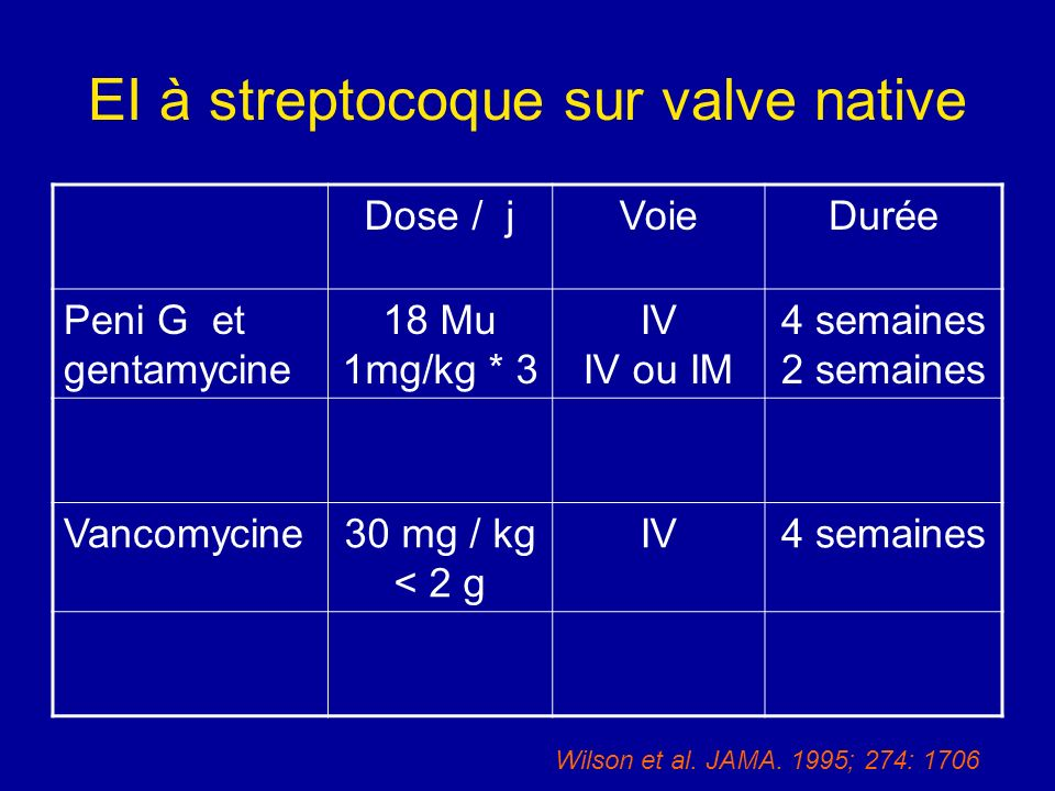 EI à streptocoque sur valve native