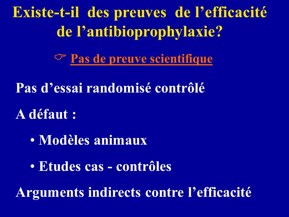 Existe-t-il des preuves de l'efficacité de l'antibioprophylaxie