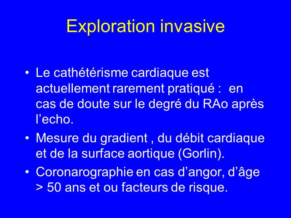 Exploration invasive Le cathétérisme cardiaque est actuellement rarement pratiqué : en cas de doute sur le degré du RAo après l'echo.