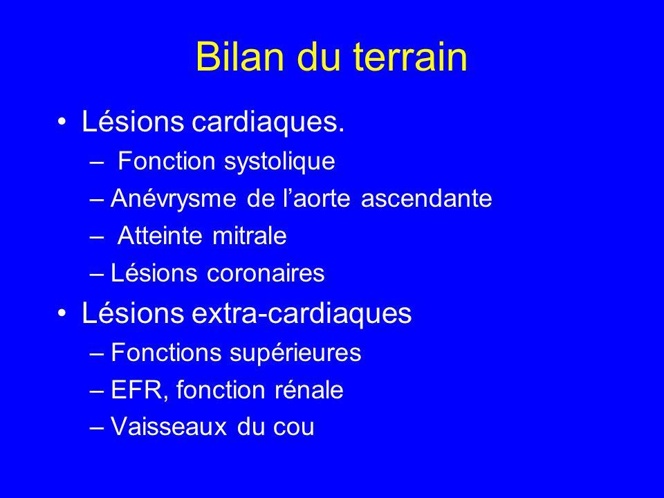 Bilan du terrain Lésions cardiaques. Lésions extra-cardiaques