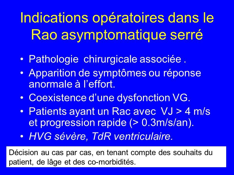 Indications opératoires dans le Rao asymptomatique serré