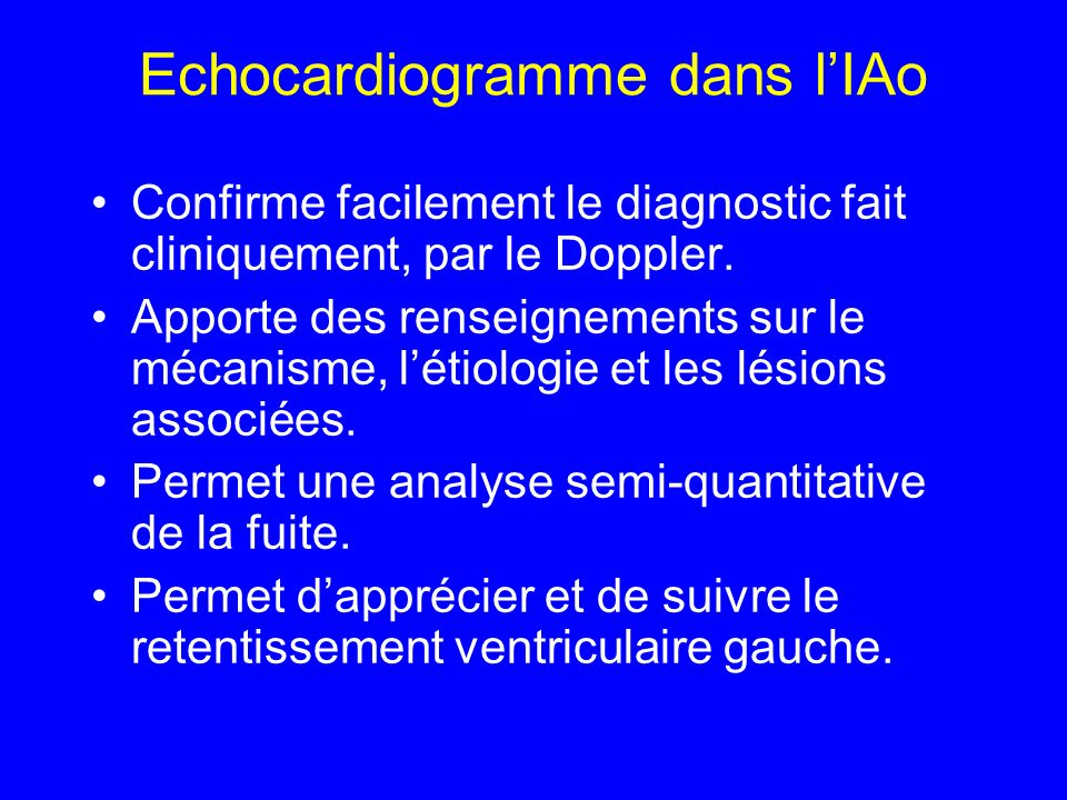 Echocardiogramme dans l'IAo