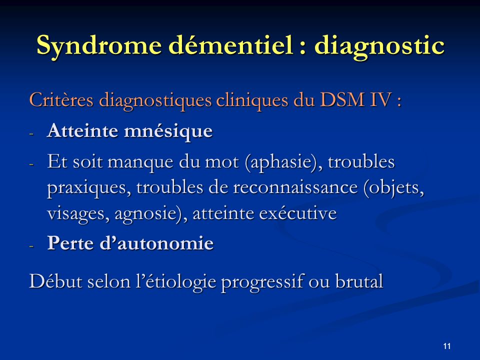 Syndrome démentiel : diagnostic
