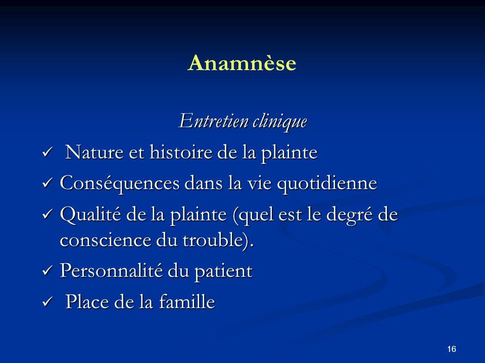 Anamnèse Entretien clinique Nature et histoire de la plainte