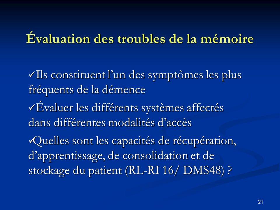 Évaluation des troubles de la mémoire