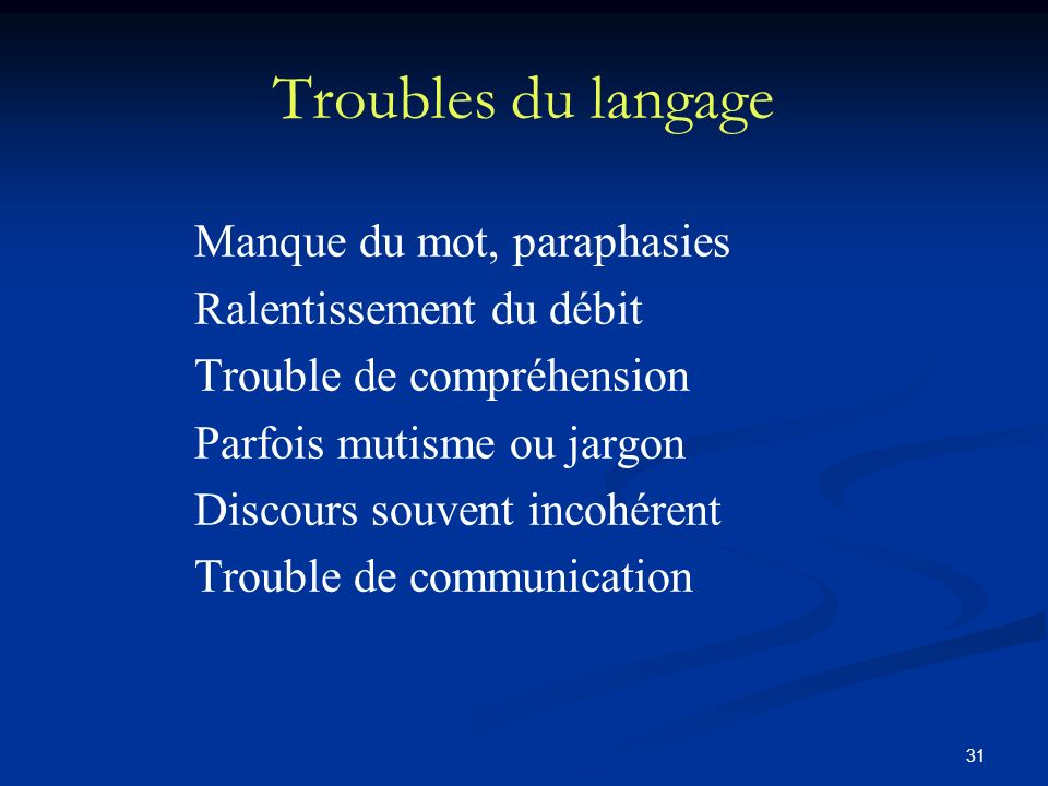 Troubles du langage Manque du mot, paraphasies Ralentissement du débit
