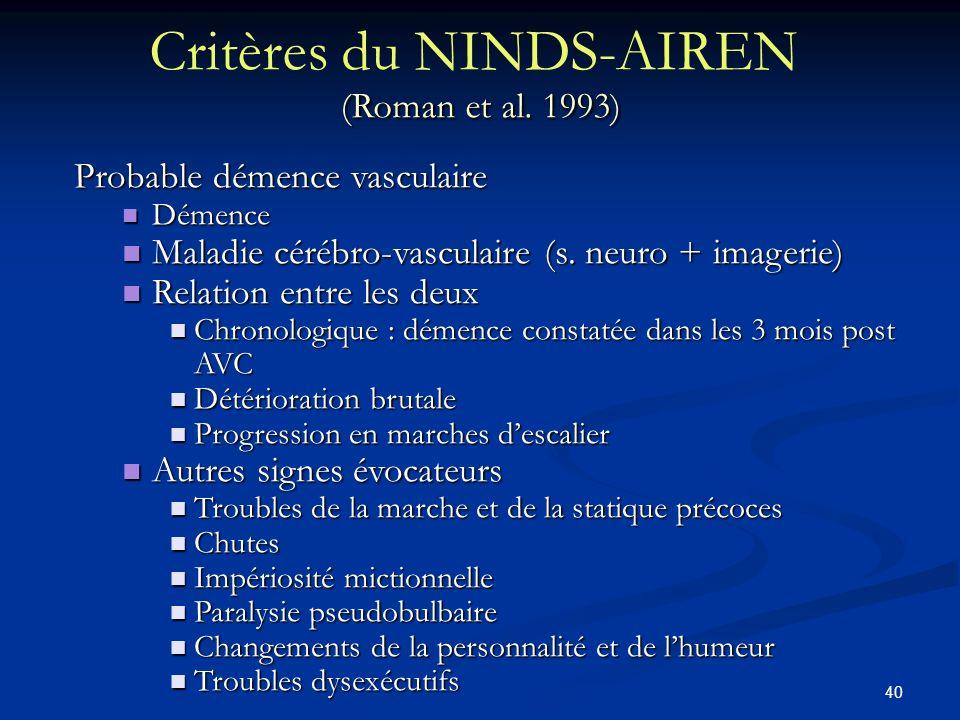 Critères du NINDS-AIREN (Roman et al. 1993)