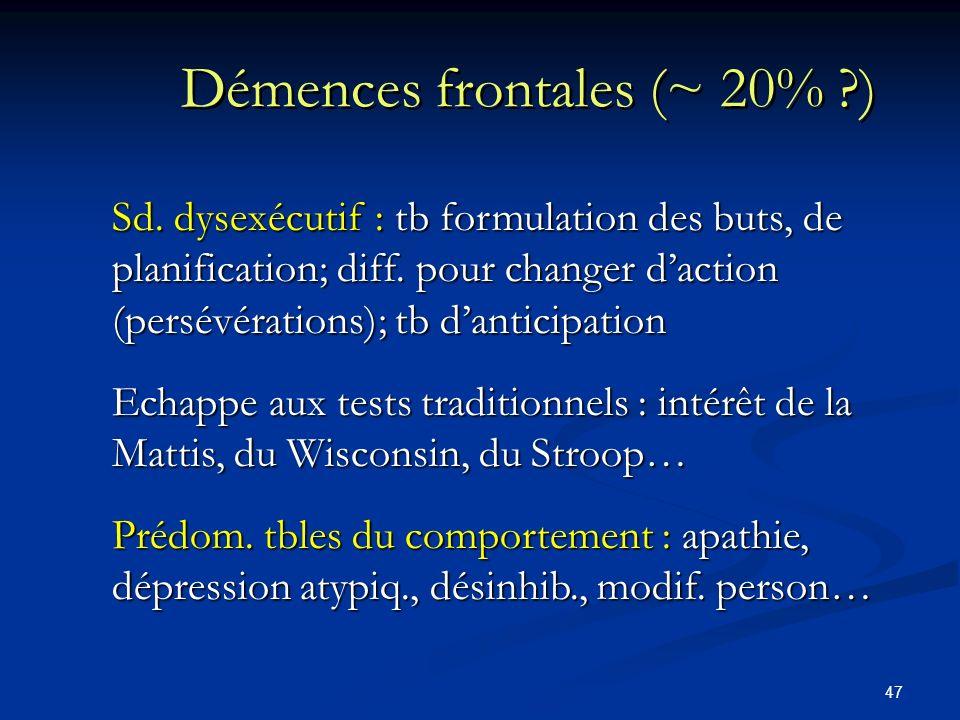 Démences frontales (~ 20% )