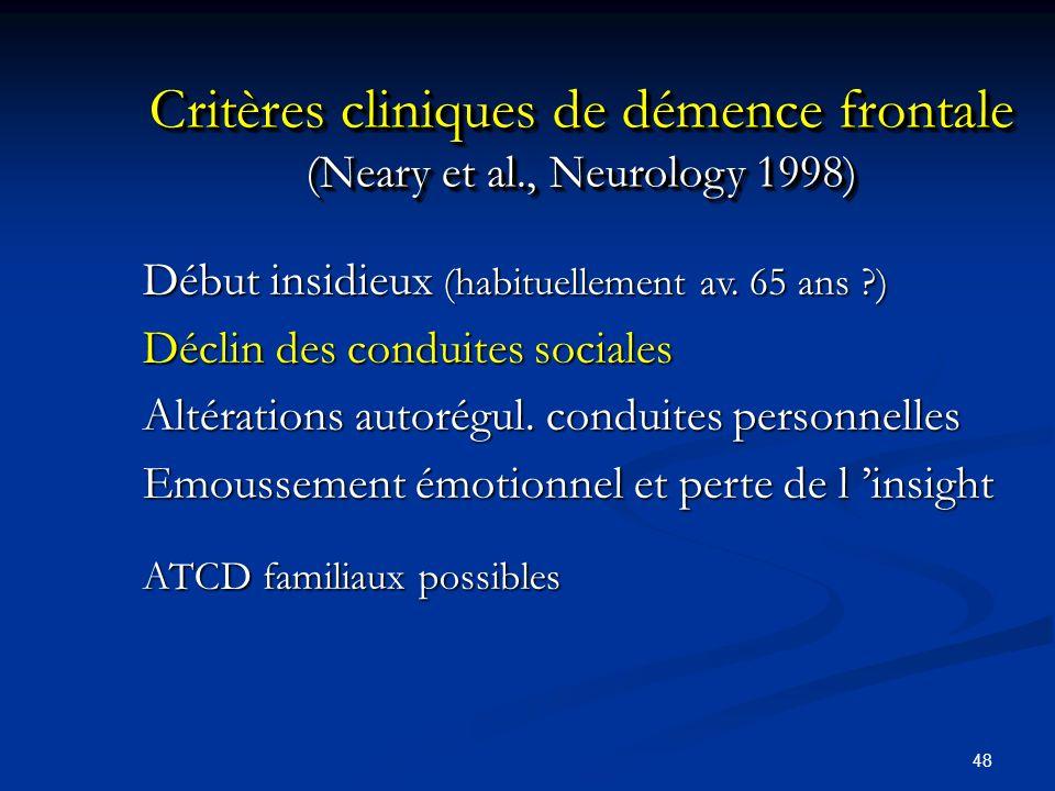 Critères cliniques de démence frontale (Neary et al., Neurology 1998)