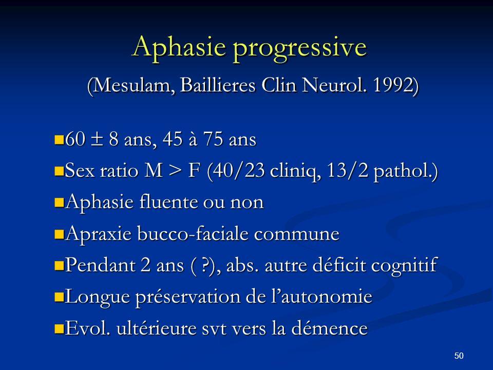 Aphasie progressive (Mesulam, Baillieres Clin Neurol. 1992)