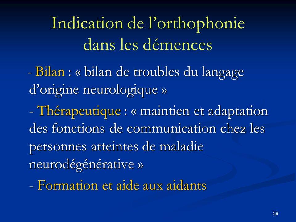 Indication de l'orthophonie dans les démences
