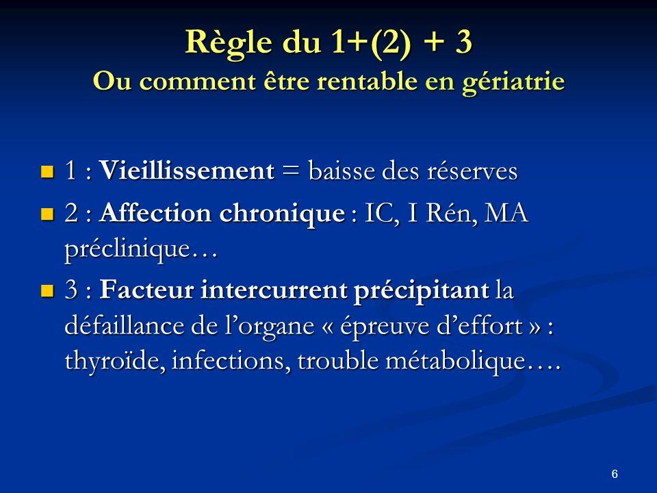 Règle du 1+(2) + 3 Ou comment être rentable en gériatrie